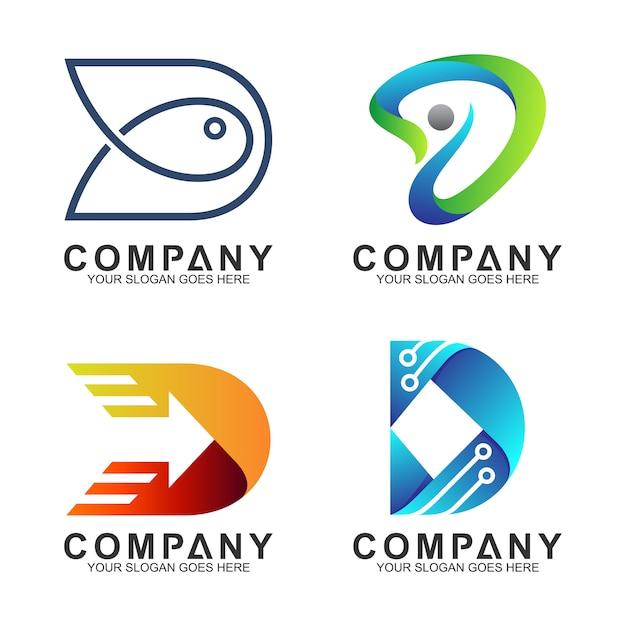 Conjunto de logotipo criativo letra d Vetor Premium