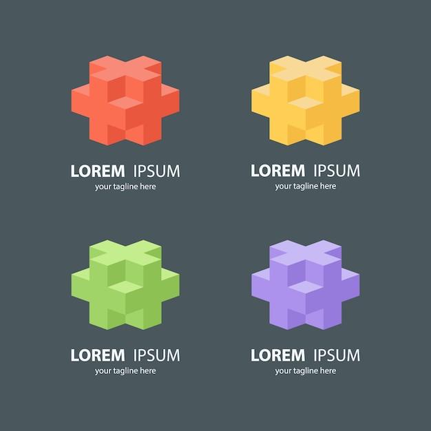 Conjunto de logotipo cubo isométrico Vetor Premium