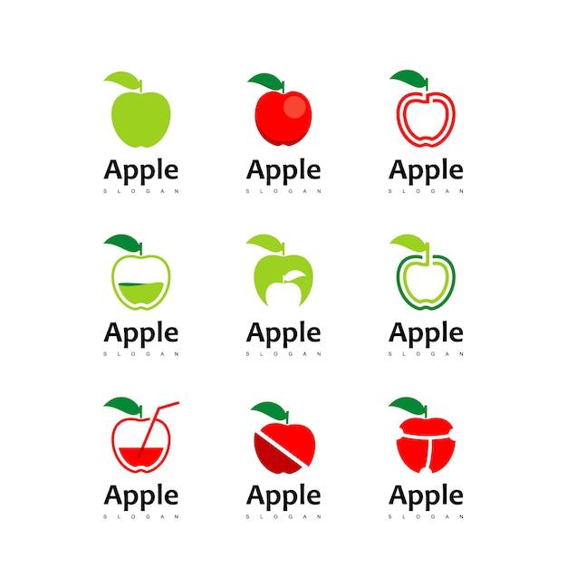 Conjunto de logotipo da apple Vetor Premium