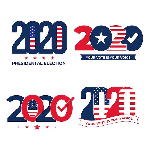 Conjunto de logotipo da eleição presidencial dos eua em 2020 Vetor Premium