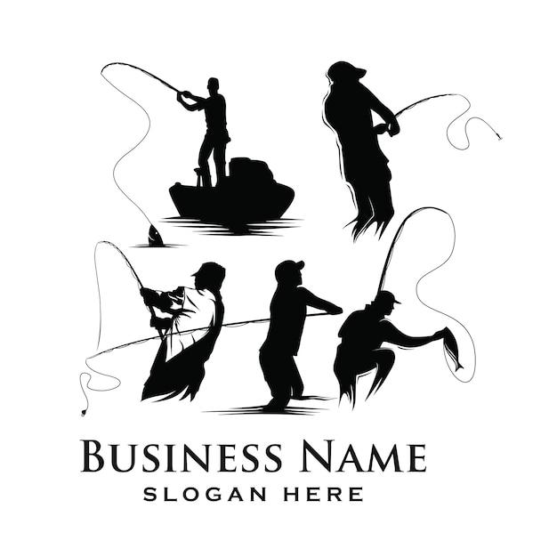 Conjunto de logotipo da pesca Vetor Premium