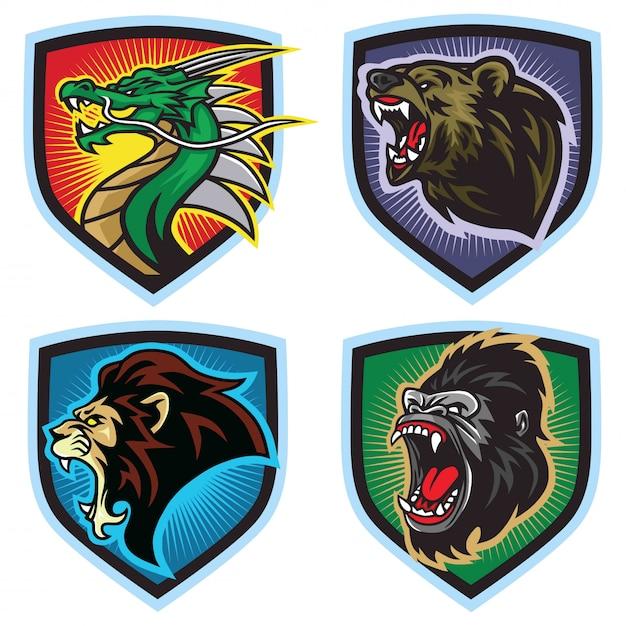 Conjunto de logotipo de animais selvagens. dragão, leão, urso, gorila, mascote dos esportes, Vetor Premium