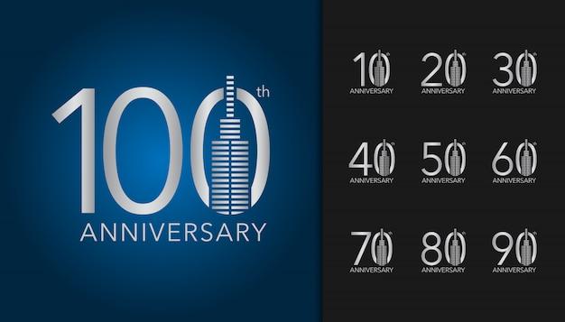 Conjunto de logotipo de aniversário de prata. Vetor Premium