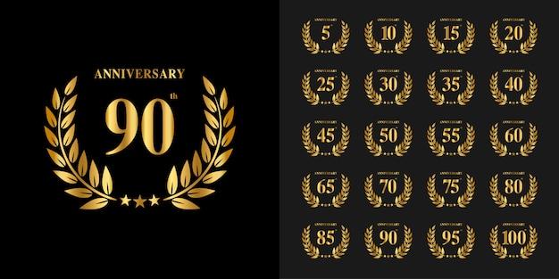 Conjunto de logotipo de aniversário. design de emblema de celebração de aniversário de ouro. Vetor Premium