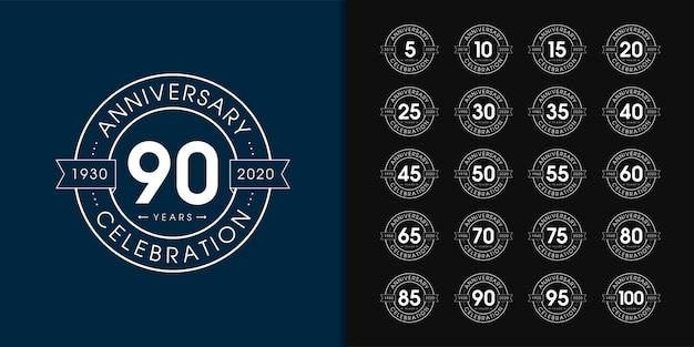 Conjunto de logotipo de aniversário premium. Vetor Premium