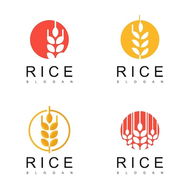 Conjunto de logotipo de arroz Vetor Premium