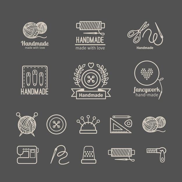 Conjunto de logotipo de artesanato Vetor Premium