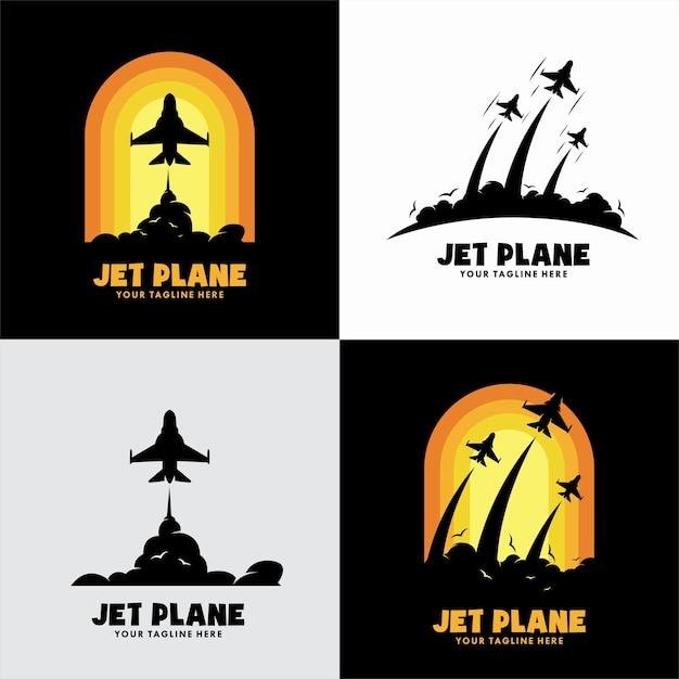 Conjunto de logotipo de avião a jato Vetor Premium