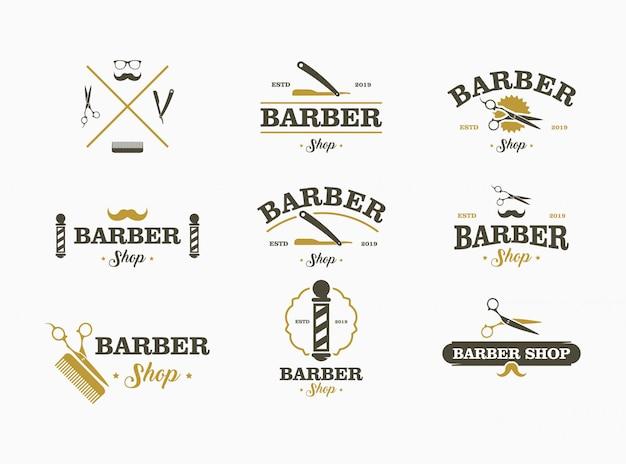 Conjunto de logotipo de barbearia. coleção de elementos para o logotipo, etiquetas, emblemas. Vetor Premium