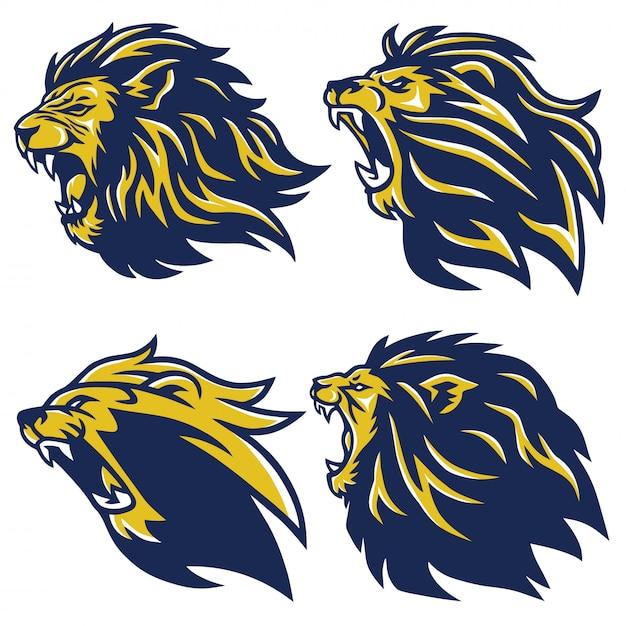 Conjunto de logotipo de cabeça de leão Vetor Premium
