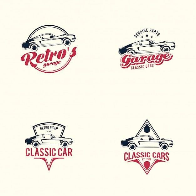 Conjunto de logotipo de carro americano músculo. carro clássico retrô Vetor Premium