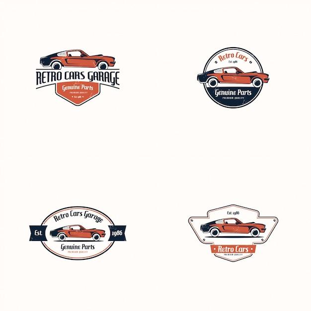 Conjunto de logotipo de carro retrô. veículo clássico Vetor Premium