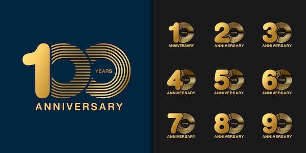 Conjunto de logotipo de celebração de aniversário dourado. Vetor Premium