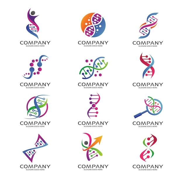 Conjunto de logotipo de ciência e pesquisa de dna Vetor Premium