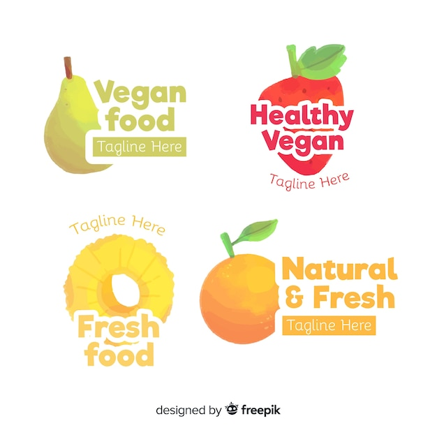 Conjunto de logotipo de comida saudável aquarela Vetor grátis