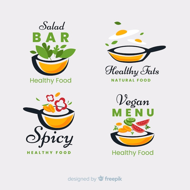 Conjunto de logotipo de comida saudável plana Vetor grátis