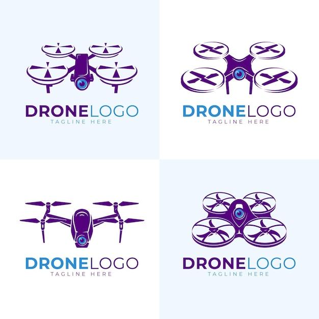 Conjunto de logotipo de drone plano Vetor grátis