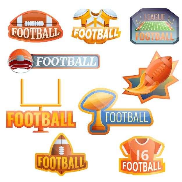 Conjunto de logotipo de equipamento de futebol americano, estilo cartoon Vetor Premium