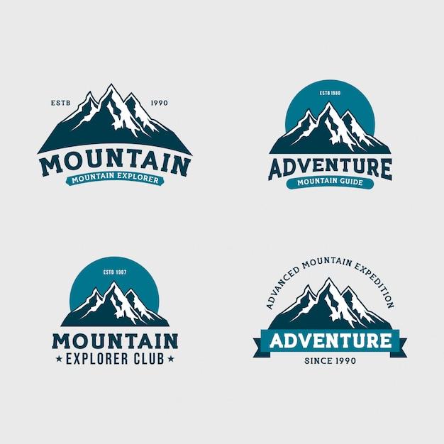 Conjunto de logotipo de expedição de montanha Vetor Premium