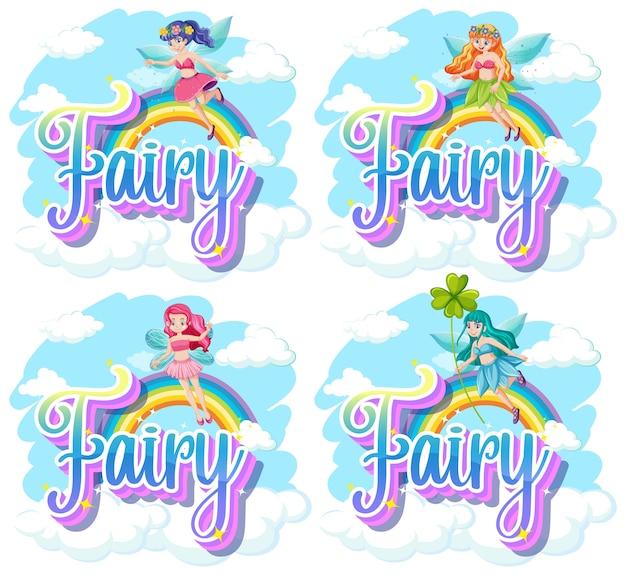Conjunto de logotipo de fada e duende com pequenas fadas em fundo branco Vetor grátis