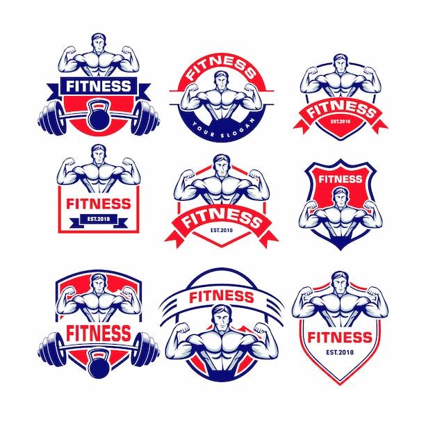 Conjunto de logotipo de fitness Vetor Premium