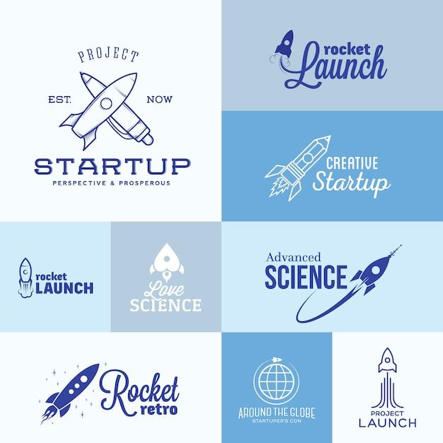 Conjunto de logotipo de foguete Vetor Premium