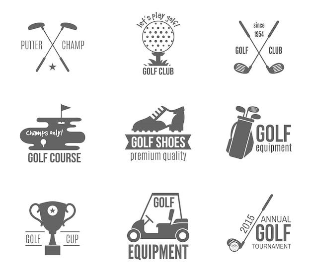 Conjunto de logotipo de golfe Vetor Premium