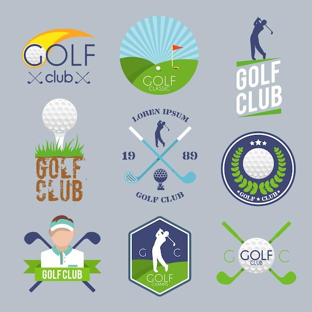 Conjunto de logotipo de golfe Vetor grátis