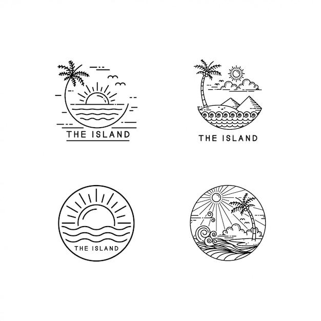 Conjunto de logotipo de ilha tropical Vetor Premium
