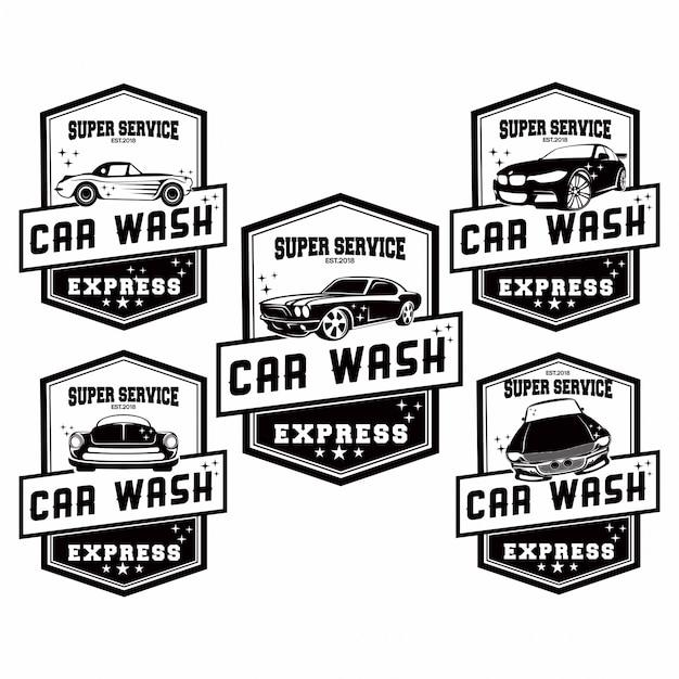 Conjunto de logotipo de lavagem de carro Vetor Premium