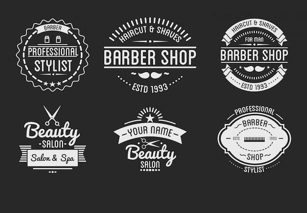 Conjunto de logotipo de loja de barbeiro vintage e distintivos de salão de beleza spa. Vetor Premium