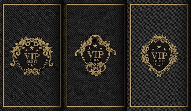 Conjunto de logotipo de luxo Vetor Premium