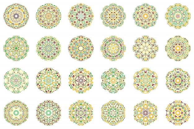 Conjunto de logotipo de mandala de flor geométrica abstrata colorida Vetor Premium