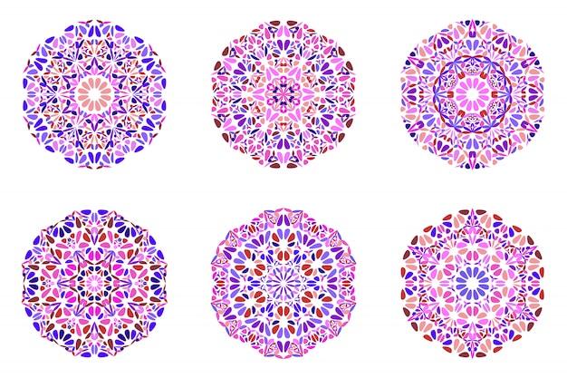 Conjunto de logotipo de mandala de ornamento floral geométrico ornamentado Vetor Premium