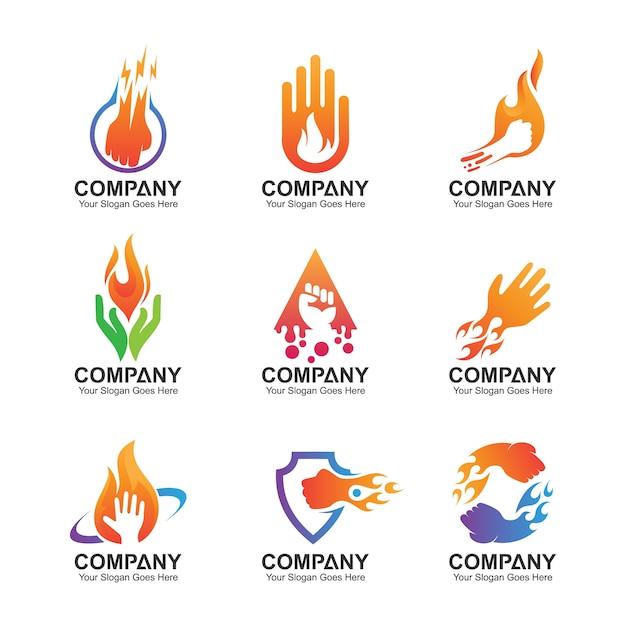 Conjunto de logotipo de mão, ícones de mão abstrata, modelo de design de mão Vetor Premium