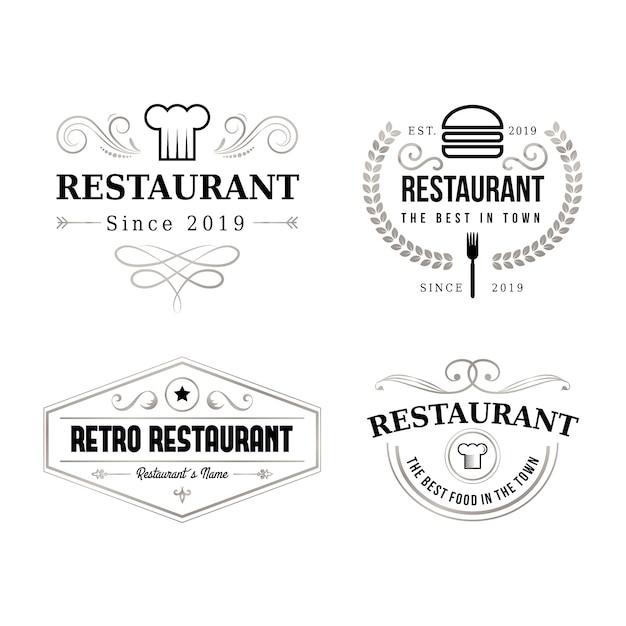 Conjunto de logotipo de marca retrô de restaurante Vetor grátis