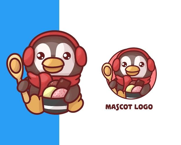 Conjunto de logotipo de mascote de pinguim de sorvete bonito com aparência opcional. kawaii Vetor Premium