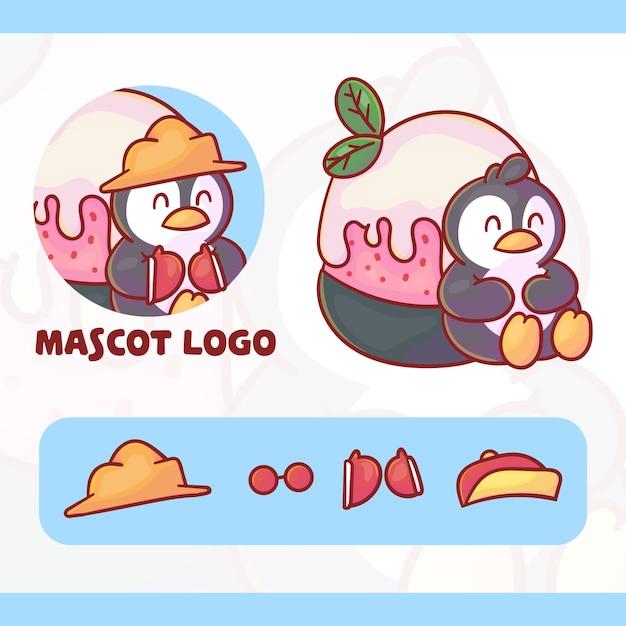 Conjunto de logotipo de mascote de sorvete de pinguim fofo com aparência opcional, estilo kawaii Vetor Premium