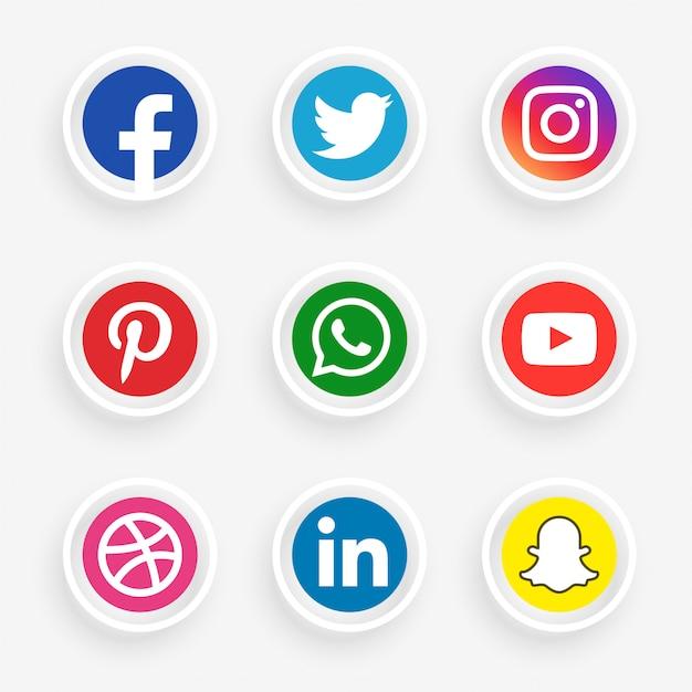Conjunto de logotipo de mídia social elegante Vetor grátis