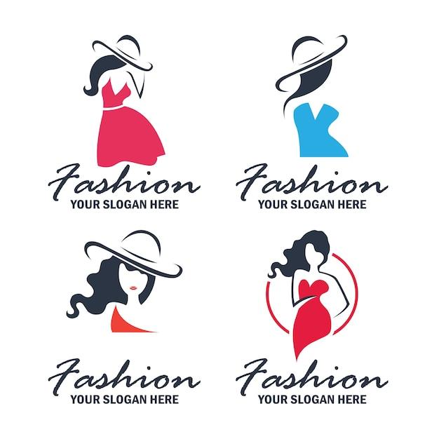 Conjunto de logotipo de moda e beleza e coleção de emblemas Vetor grátis