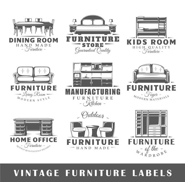 Conjunto de logotipo de móveis vintage Vetor Premium