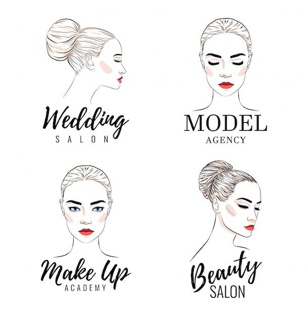 Conjunto de logotipo de mulher bonita, logotipo da academia modelo Vetor Premium