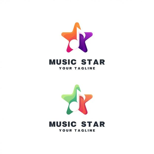 Conjunto de logotipo de música estrela Vetor Premium