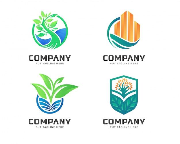 Conjunto de logotipo de natureza verde de negócios Vetor Premium
