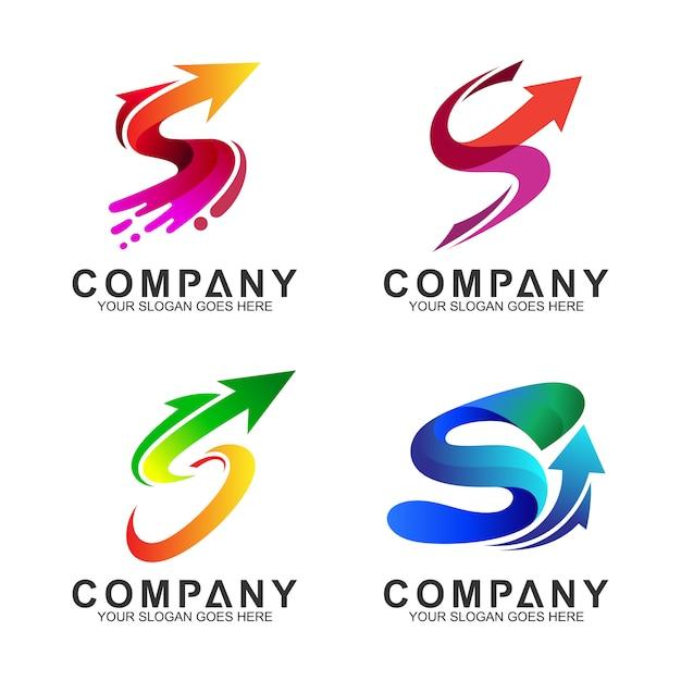 Conjunto de logotipo de negócios seta + letra s Vetor Premium