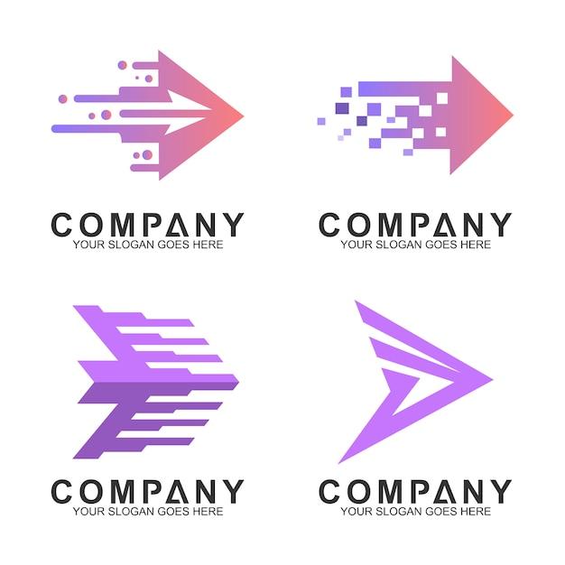 Conjunto de logotipo de negócios simples seta Vetor Premium
