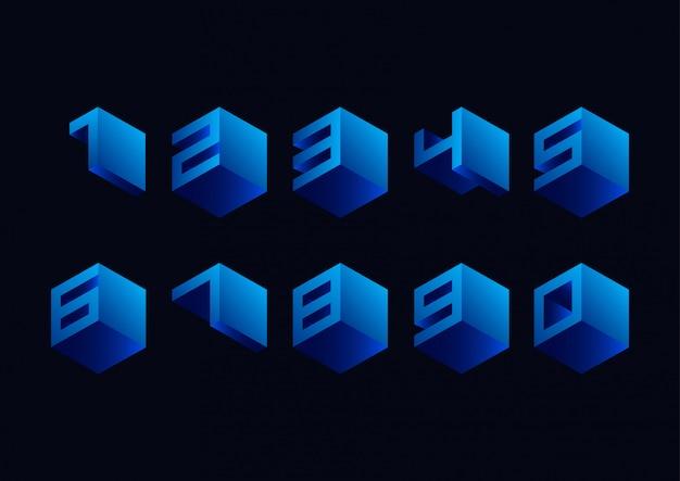 Conjunto de logotipo de números geométricos cúbicos 3d Vetor Premium