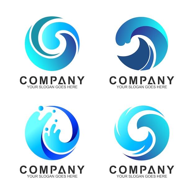 Conjunto de logotipo de onda de círculo Vetor Premium