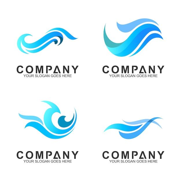 Conjunto de logotipo de onda simples Vetor Premium
