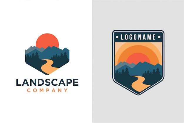Conjunto de logotipo de paisagem de montanha Vetor Premium
